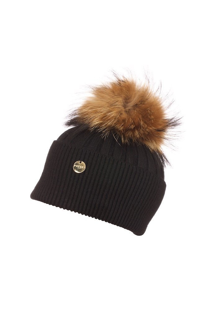 POPSKI LONDON Angora Pom Pom Hat - Black With Natural