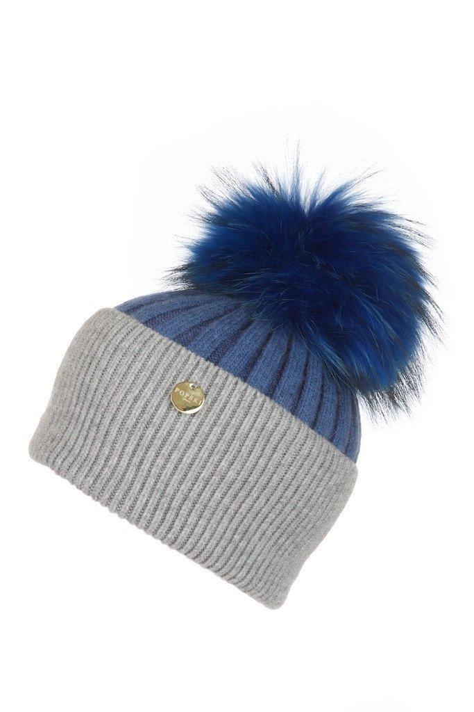 POPSKI LONDON Angora Pom Pom Hat - Evening Blue-Whisper Grey