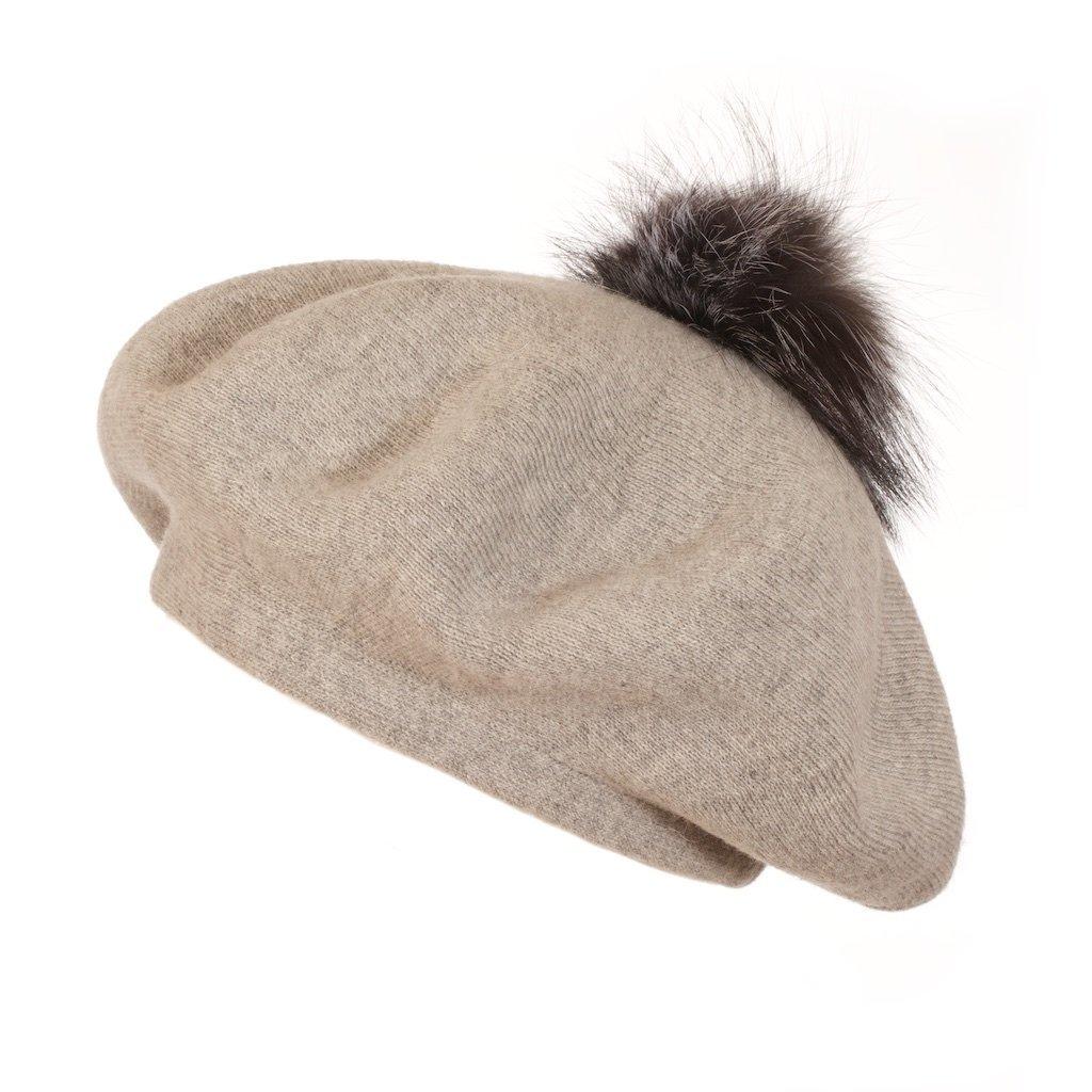 POPSKI LONDON Bella Beret Fur Pom Pom Hat In Whisper Grey