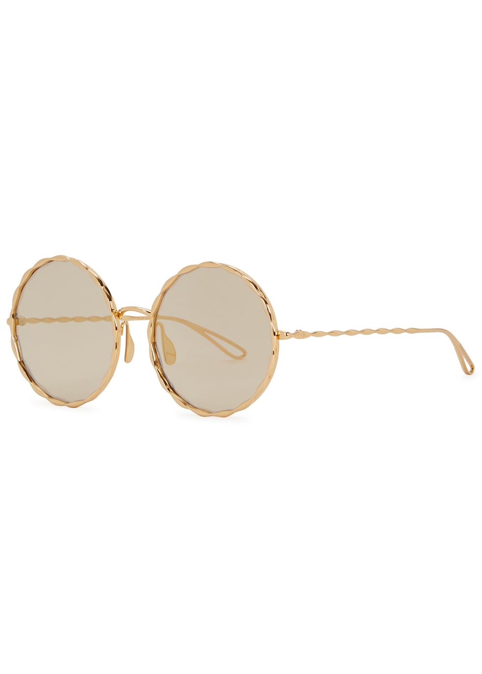 GOLD-PLATED ROUND-FRAME SUNGLASSES