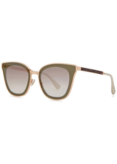 0a2935faabdd Jimmy Choo Lory gold tone cat-eye sunglasses - Harvey Nichols