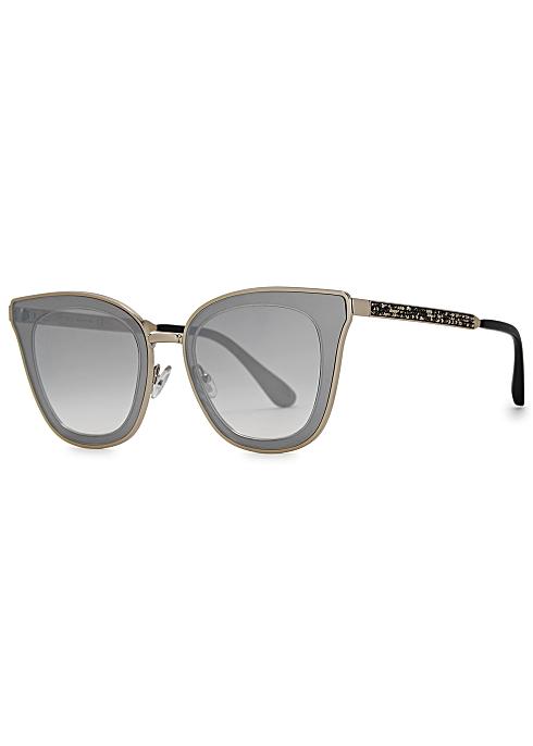 23b7631ca39f Jimmy Choo Lory gold tone cat-eye sunglasses - Harvey Nichols