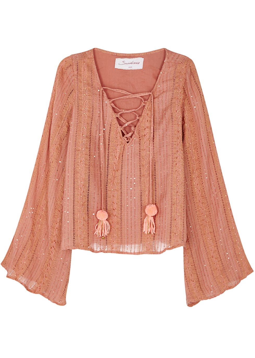 ANAIS APRICOT SEQUIN-EMBELLISHED TOP
