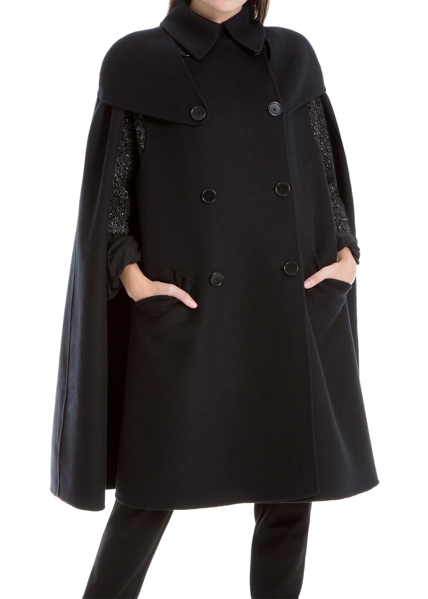 LEON MAX DOUBLE-WEAVE WOOL CAPE
