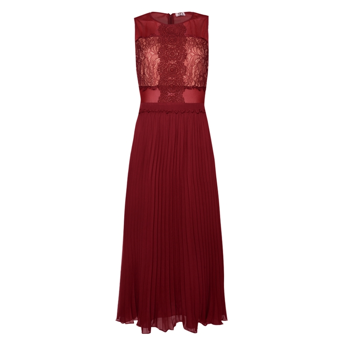 True Decadence PLEATED SKATER DRESS WITH LACE PANEL MIDI.