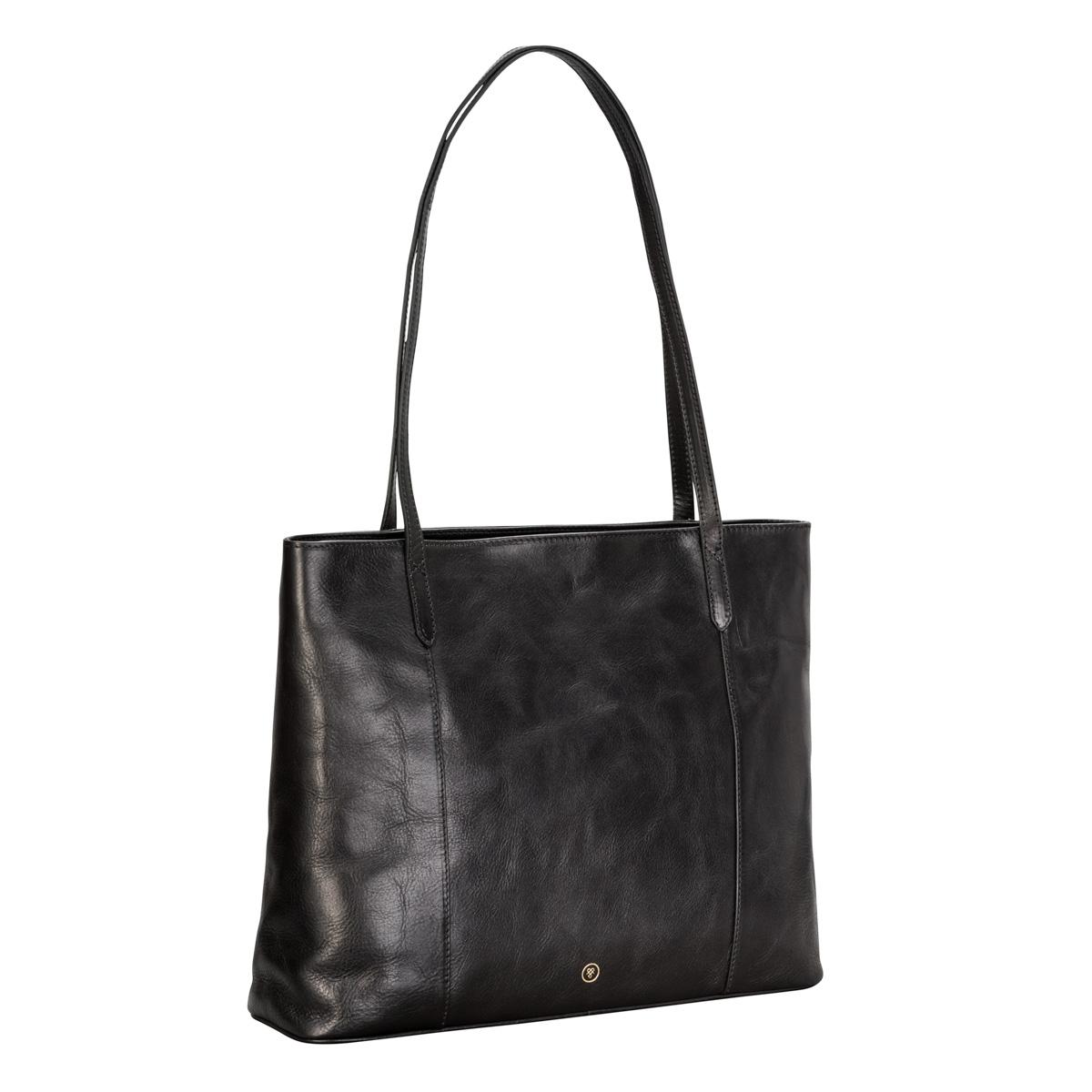 WOMEN S ELEGANT BLACK LEATHER SHOPPER BAG