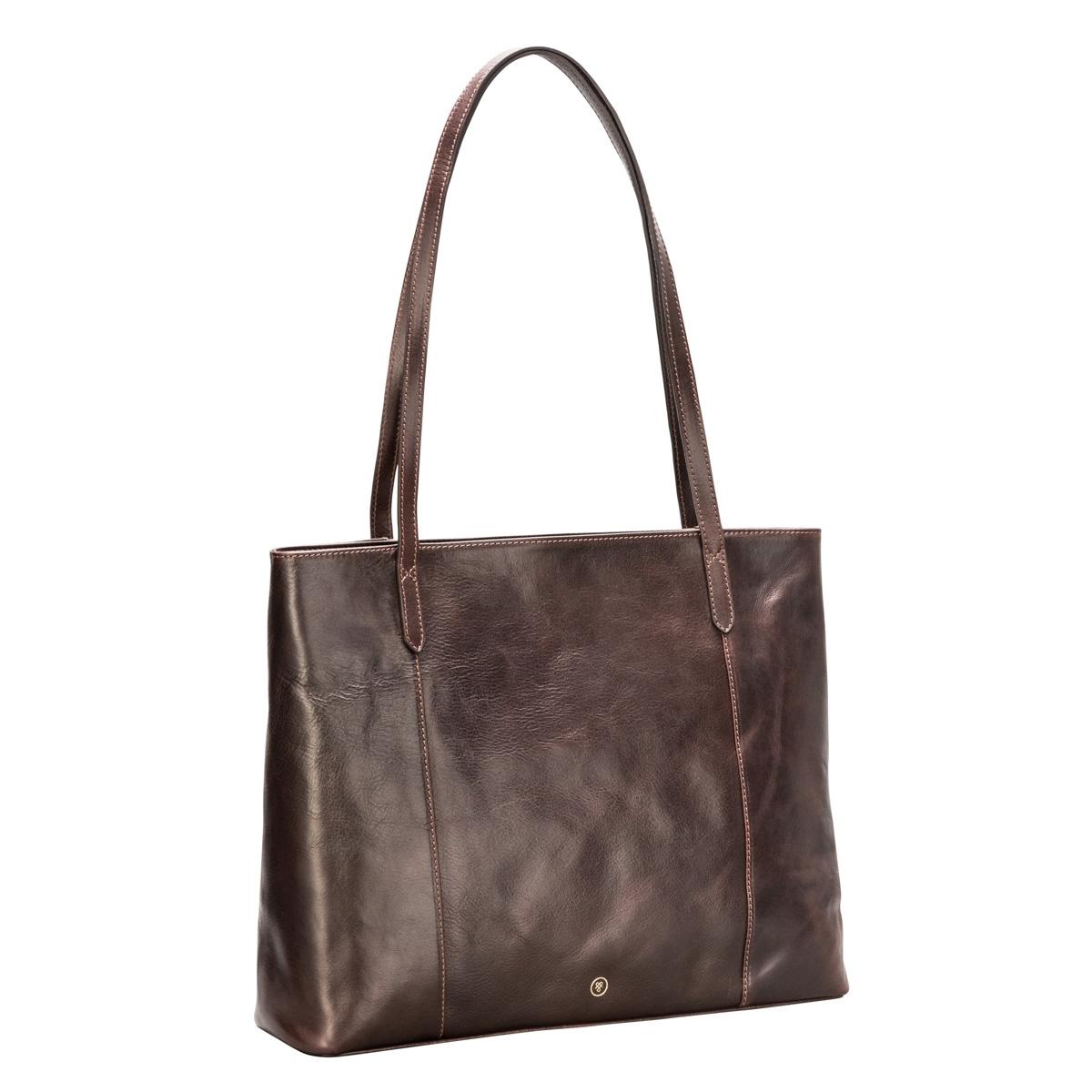 MAXWELL SCOTT BAGS Italian Leather Brown Shopper Tote For Women