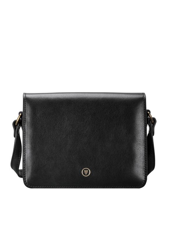 Italian Black Leather Shoulder Bag For Women
