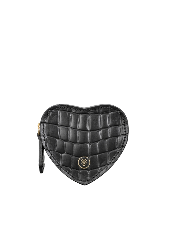 Women S Black Croc Print Leather Heart Coin Purse