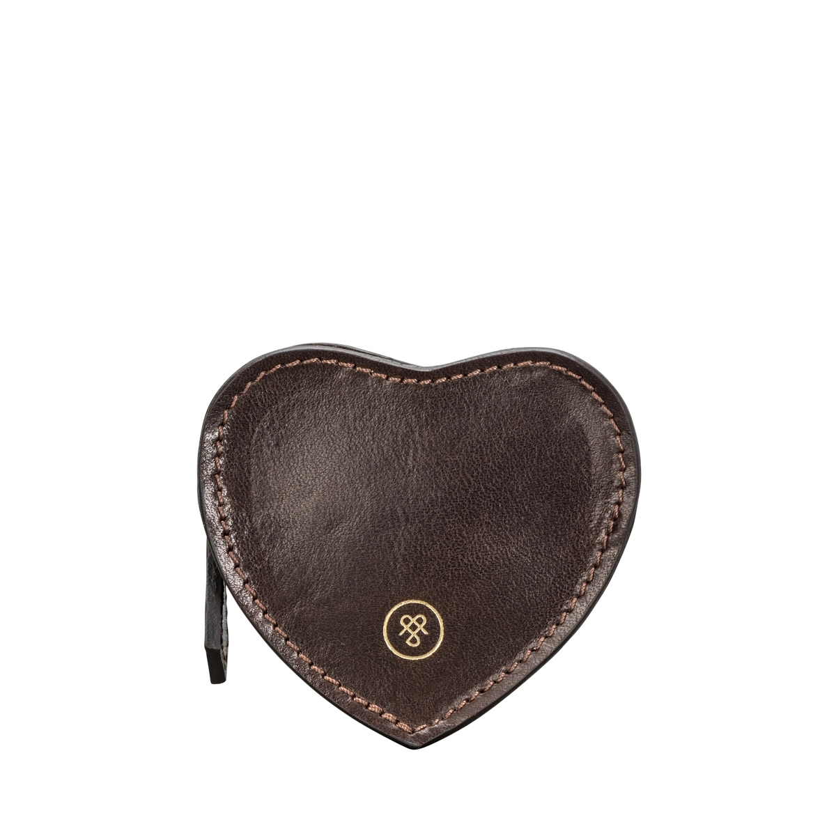 BROWN LEATHER HEART COIN PURSE