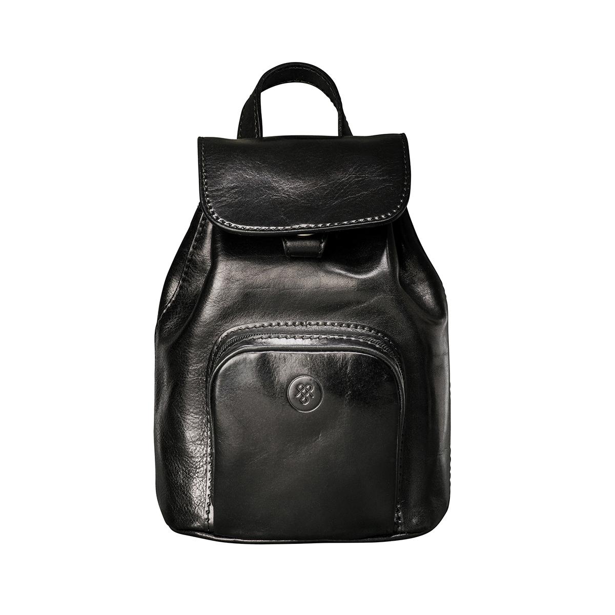 MAXWELL SCOTT BAGS Best Small Black Italian Leather Rucksack For Women