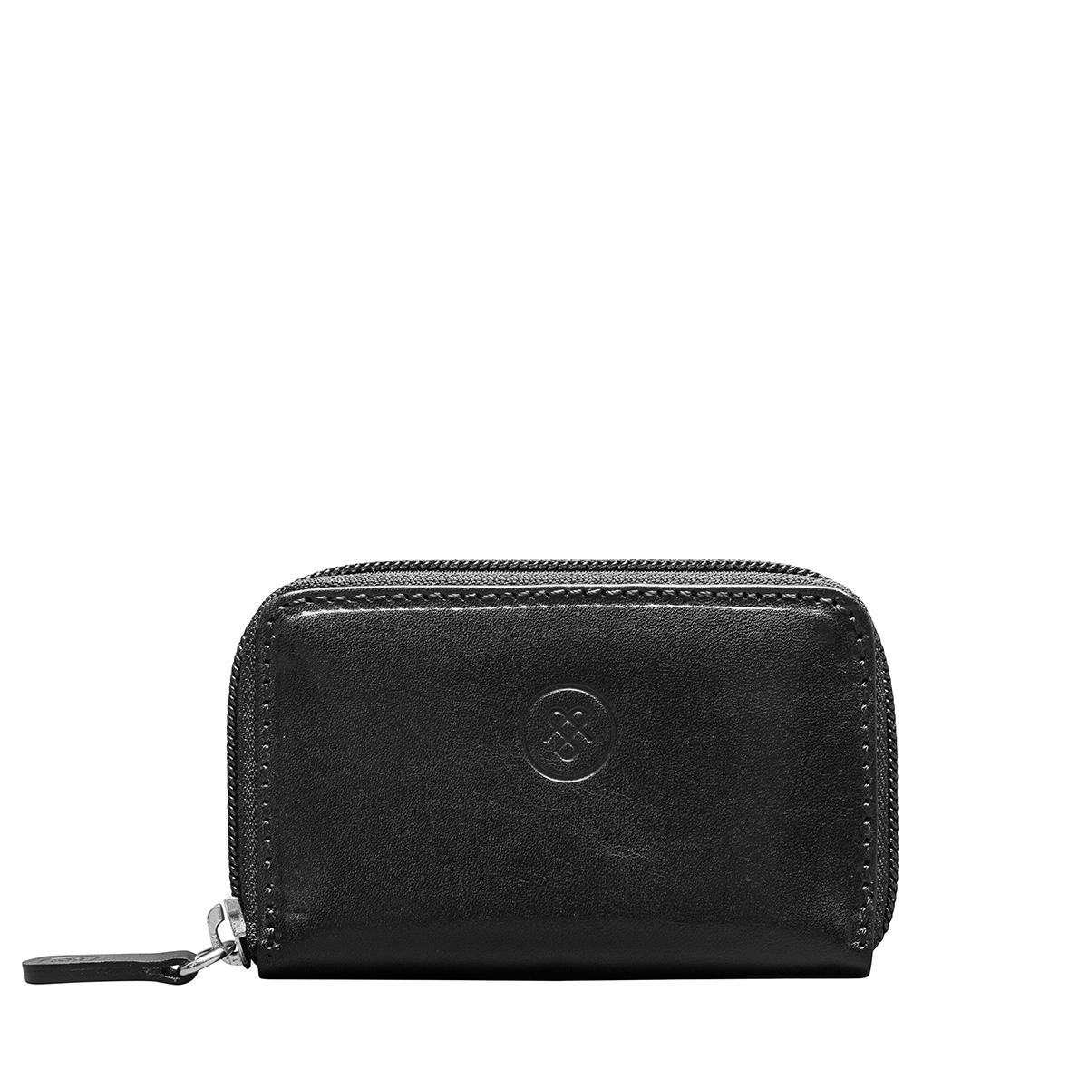 MAXWELL SCOTT BAGS Slim Black Full Grain Leather Key Case