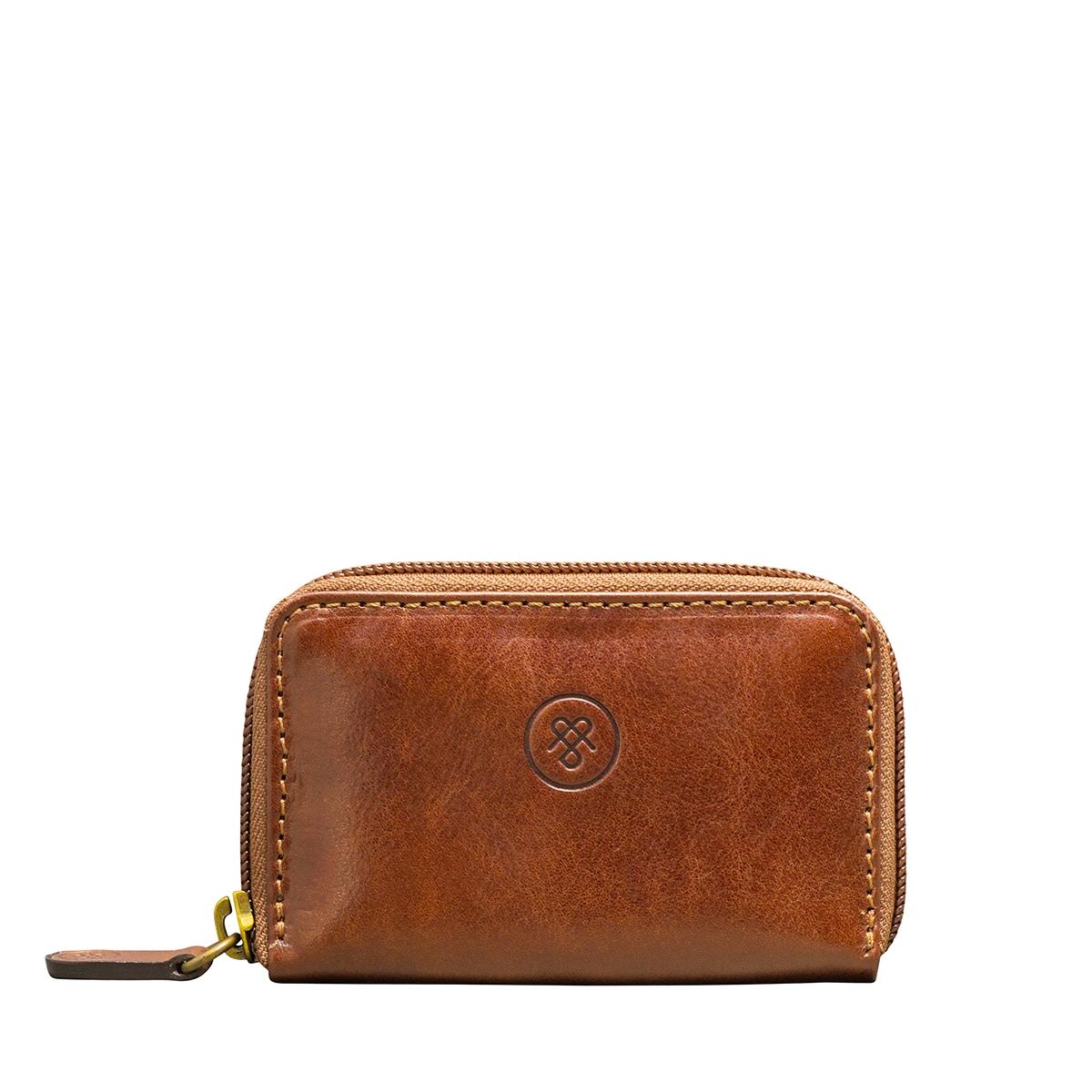MAXWELL SCOTT BAGS Luxury Tan Real Leather Key Wallet