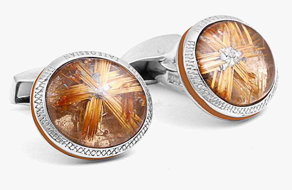 SIGNATURE GOLDEN RUTILE STAR SILVER OVAL CUFFLINKS - LIMITED EDITION