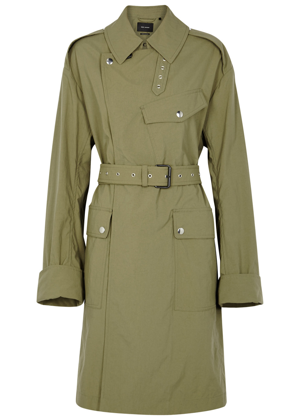 Leopald army green shell trench coat ...