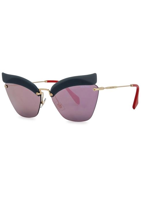 22b68aa937c Miu Miu Navy cat-eye sunglasses - Harvey Nichols