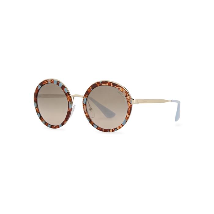 222bbcb794357 PRADA Tortoiseshell Round-Frame Sunglasses