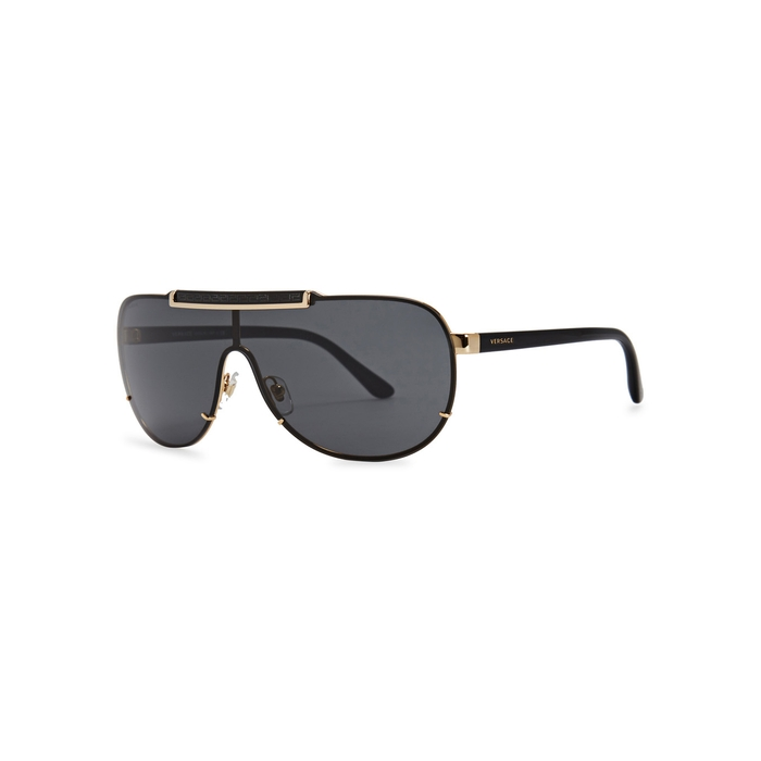 Versace Gold Tone Greco-engraved Sunglasses