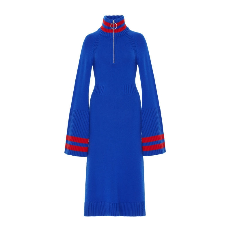 Jamie Wei Huang CASHMERE BELL SLEEVE DRESS BLUE