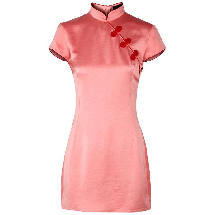 De La Vali SUKI PINK EMBELLISHED SATIN DRESS
