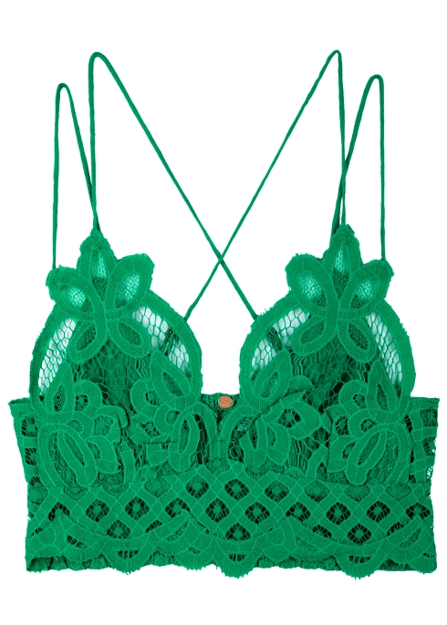 93cd6dc652 Free People Adella green lace bra top - Harvey Nichols