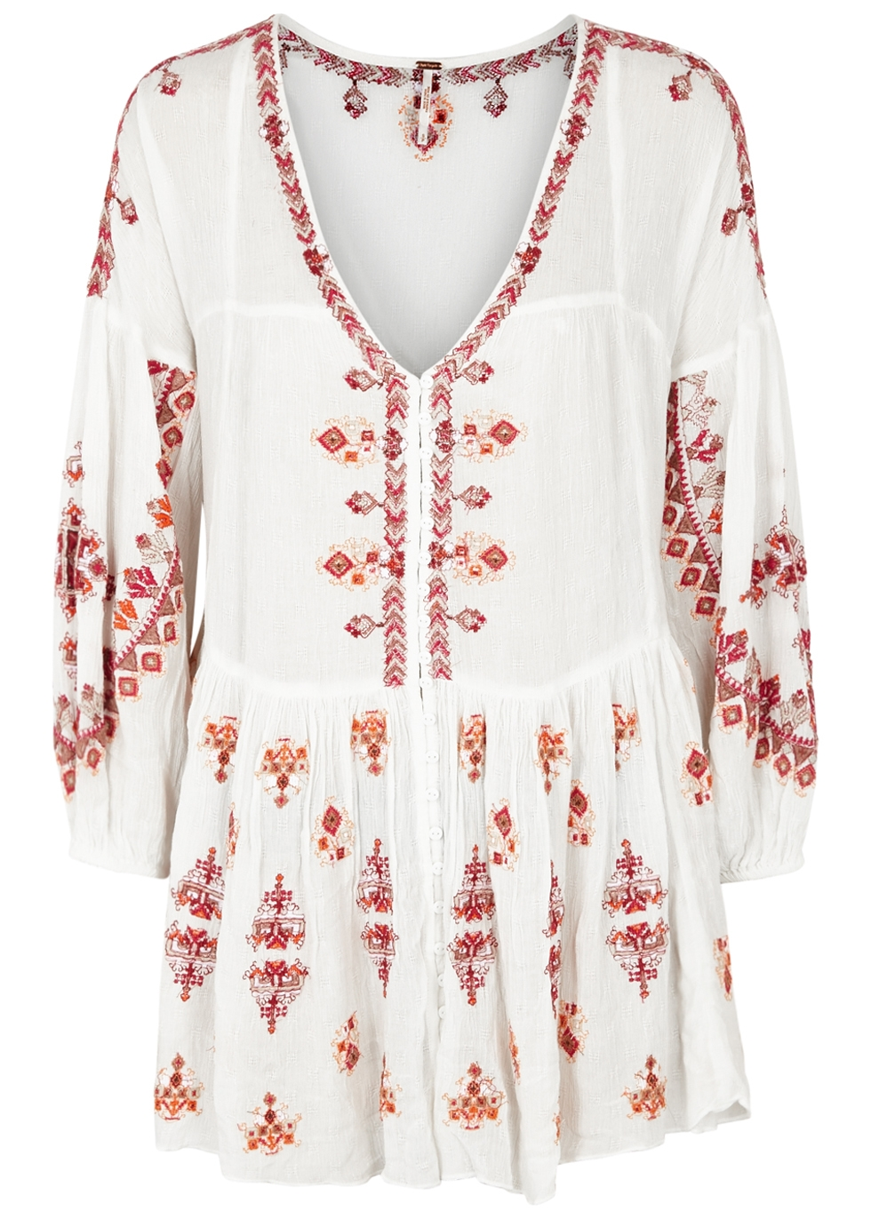 Arianna Cream Embroidered Rayon Top, White And Red