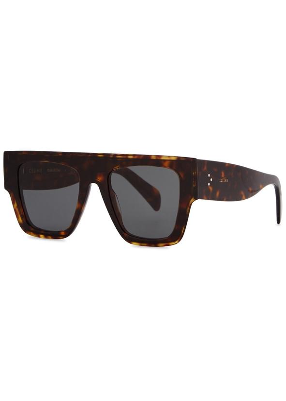 3c548f0a05 Dark tortoiseshell D-frame sunglasses. Celine