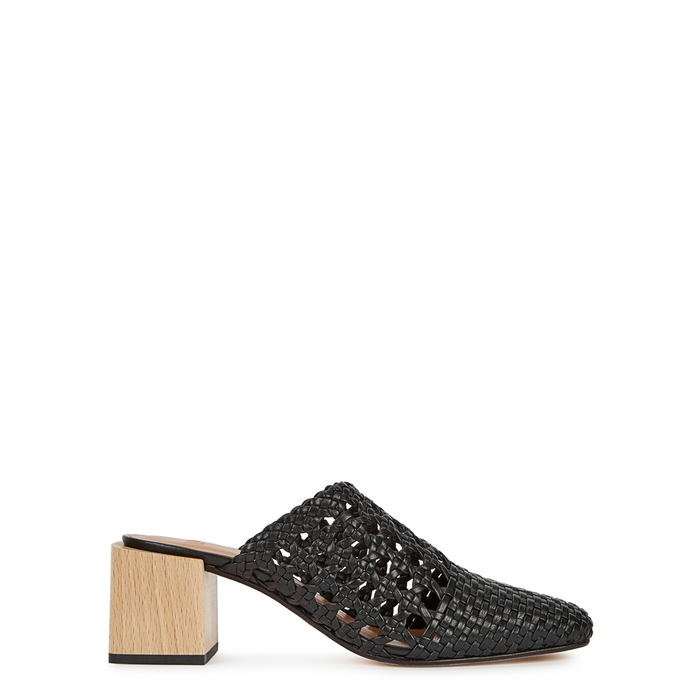 Loq INES BLACK WOVEN LEATHER MULES