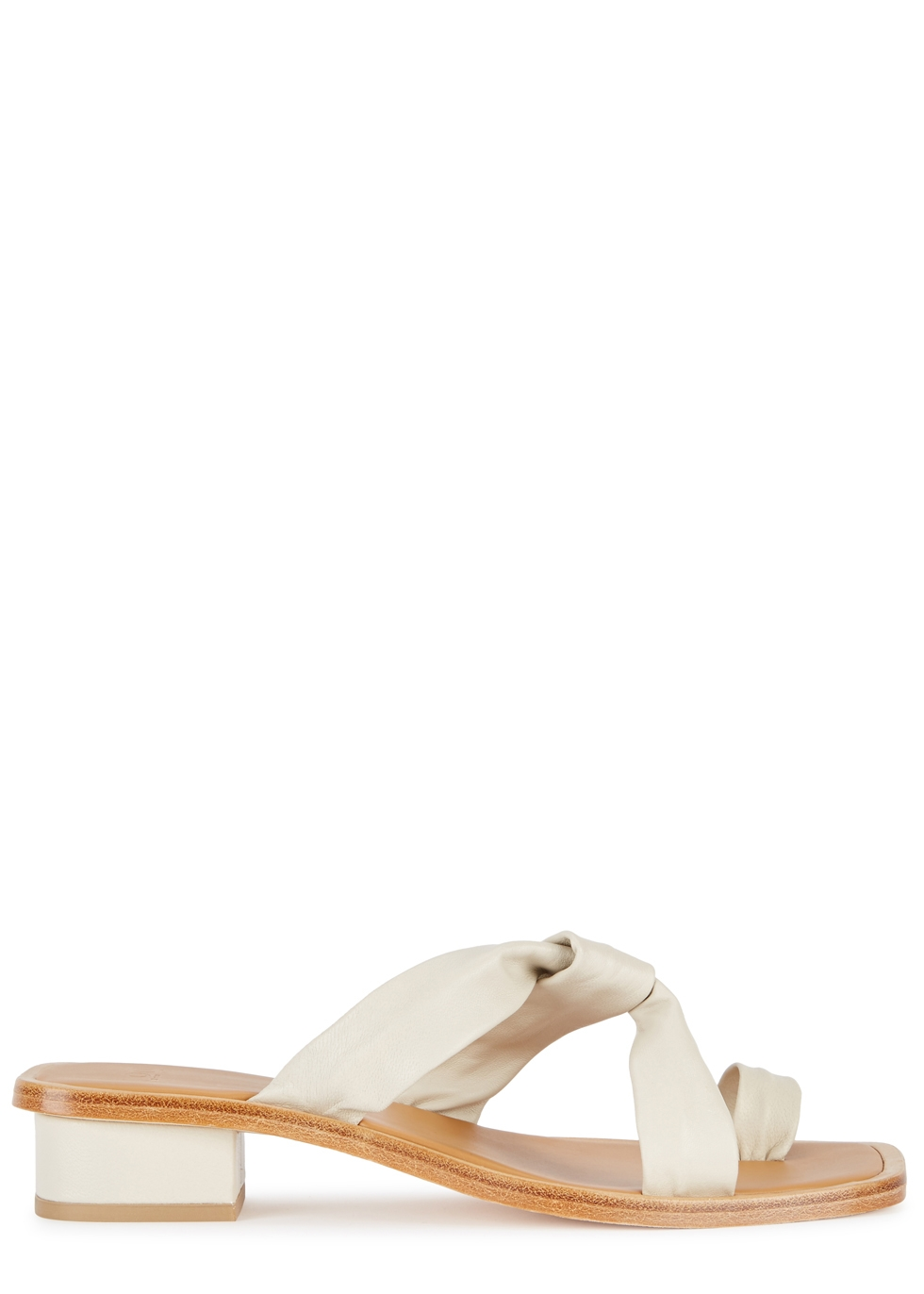 Pau Stone Leather Sandals in Light Grey