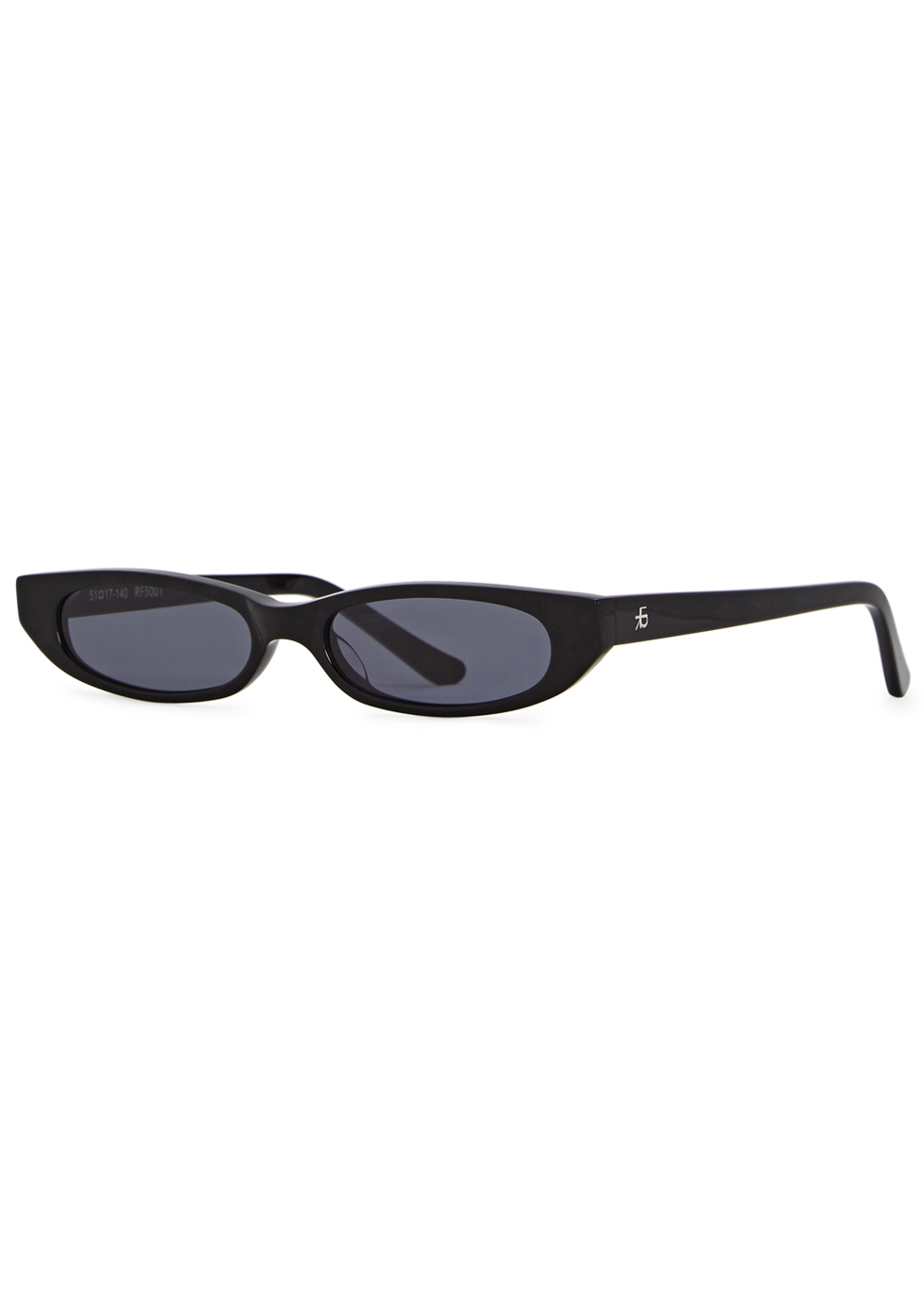 ROBERI AND FRAUD Frances Oval-Frame Sunglasses in Black