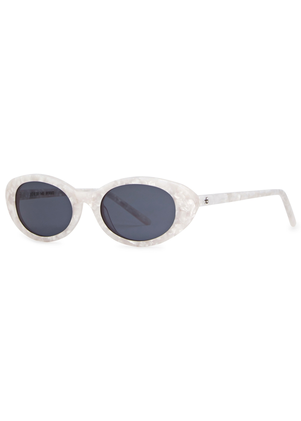 ROBERI AND FRAUD Betty Oval-Frame Sunglasses in White