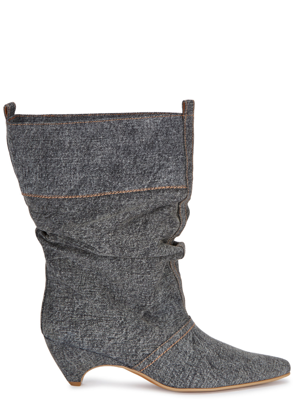 Dark Grey Slouched Denim Ankle Boots