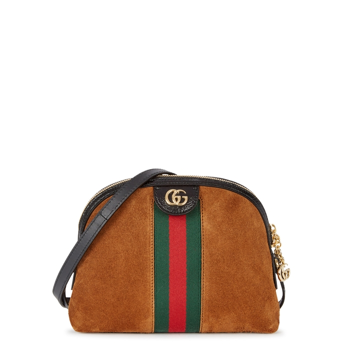 544f4c9809e74d GUCCI Linea Dragoni Suede Small Chain Shoulder Bag, Brown | ModeSens