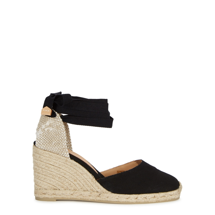 8981fa29f58 CastaÑEr Carina 90 Black Canvas Espadrille Pumps