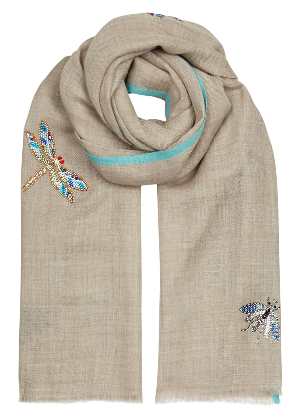 JANAVI CRYSTAL DRAGONFLY AND BUGS WOOL-BLEND SCARF