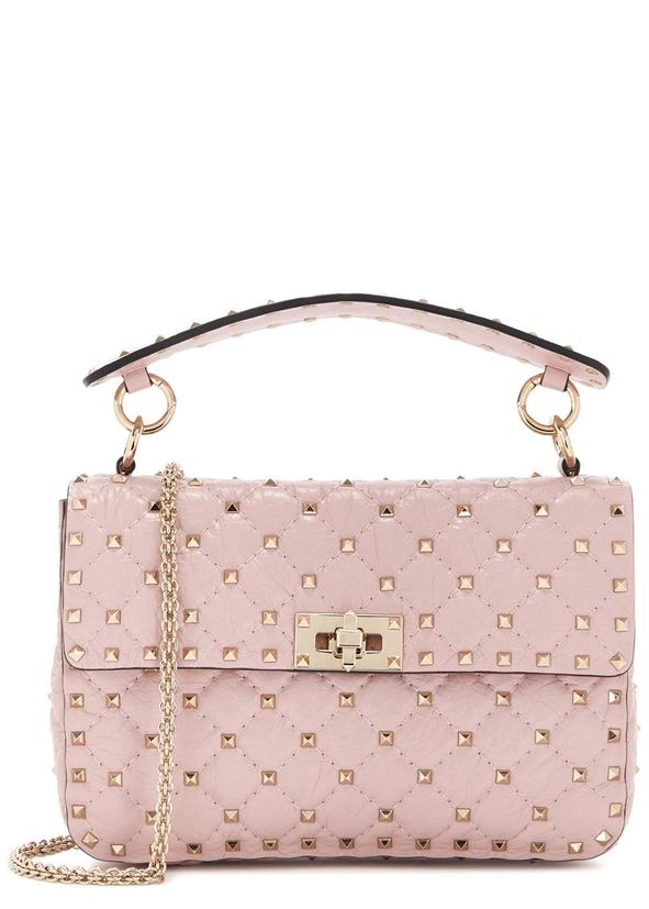Rockstud Spike Medium Rose Leather Shoulder Bag