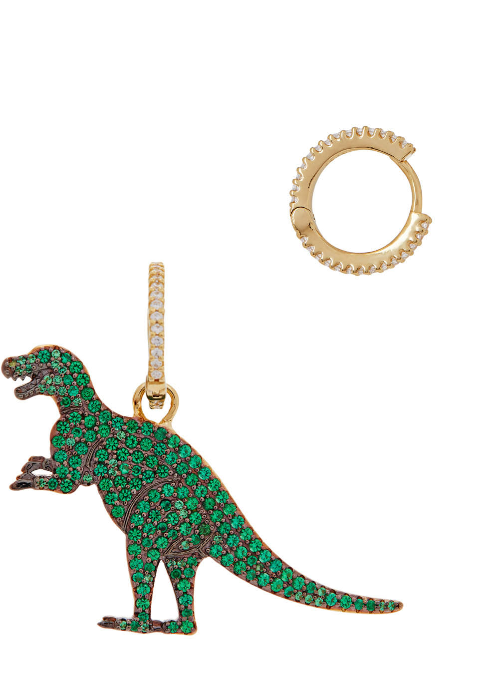 APM MONACO Rexy Dinosaur Gold Tone Hoop Earrings in Green