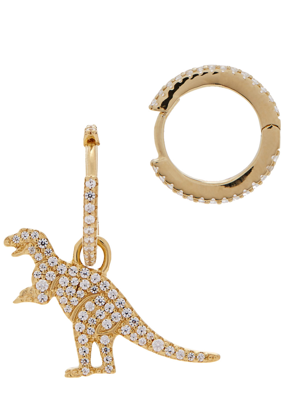 APM MONACO Rexy Dinosaur Gold Tone Hoop Earrings