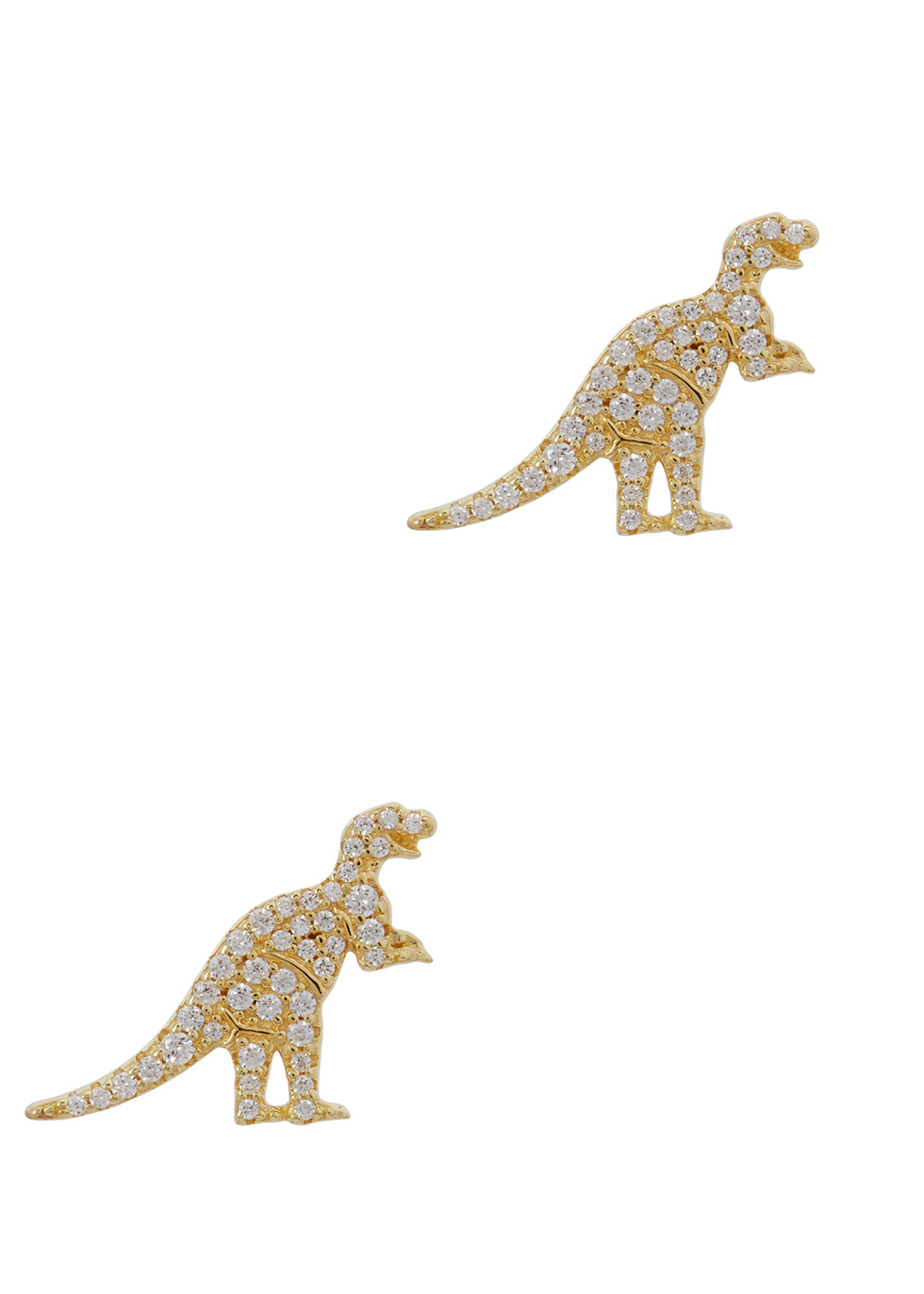 REXY DINOSAUR GOLD TONE EARRINGS