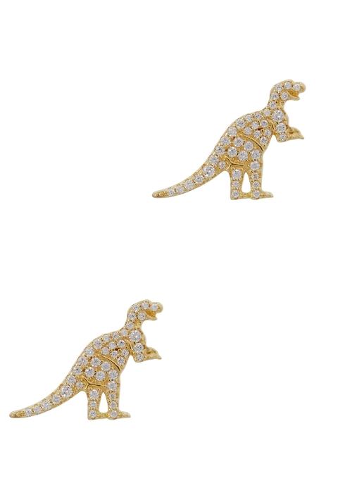 Dinosaur Earrings Studs 24k Gold Stud Trex