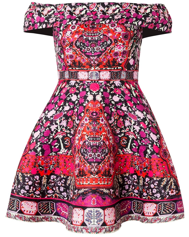 COMINO COUTURE PRINT BARDOT DRESS