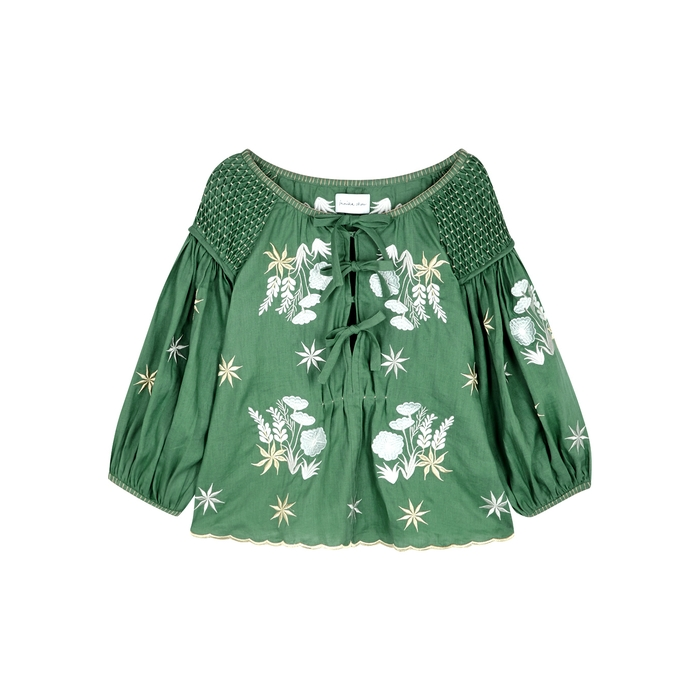 Innika Choo OLIVER DAILY GREEN SMOCKED LINEN TOP