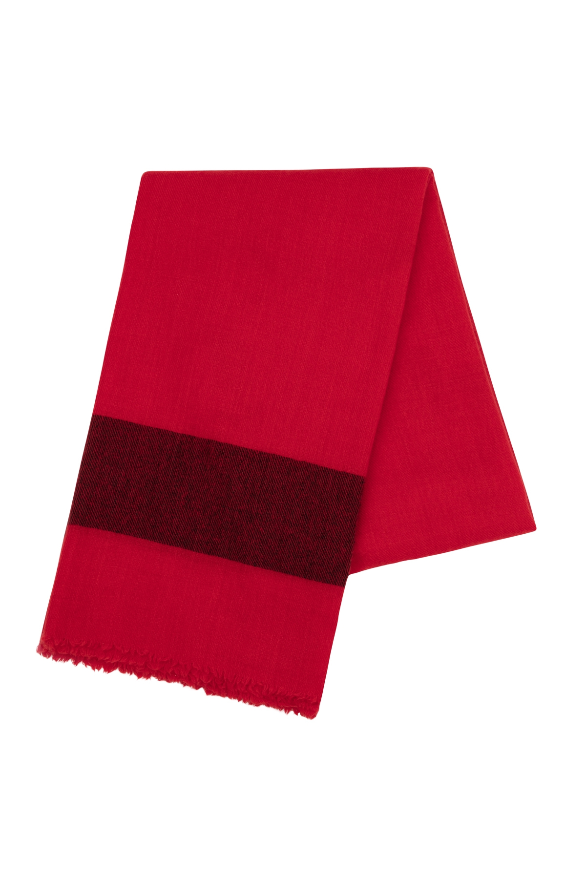 AMANDA WAKELEY RED STRIPE CASHMERE SCARF