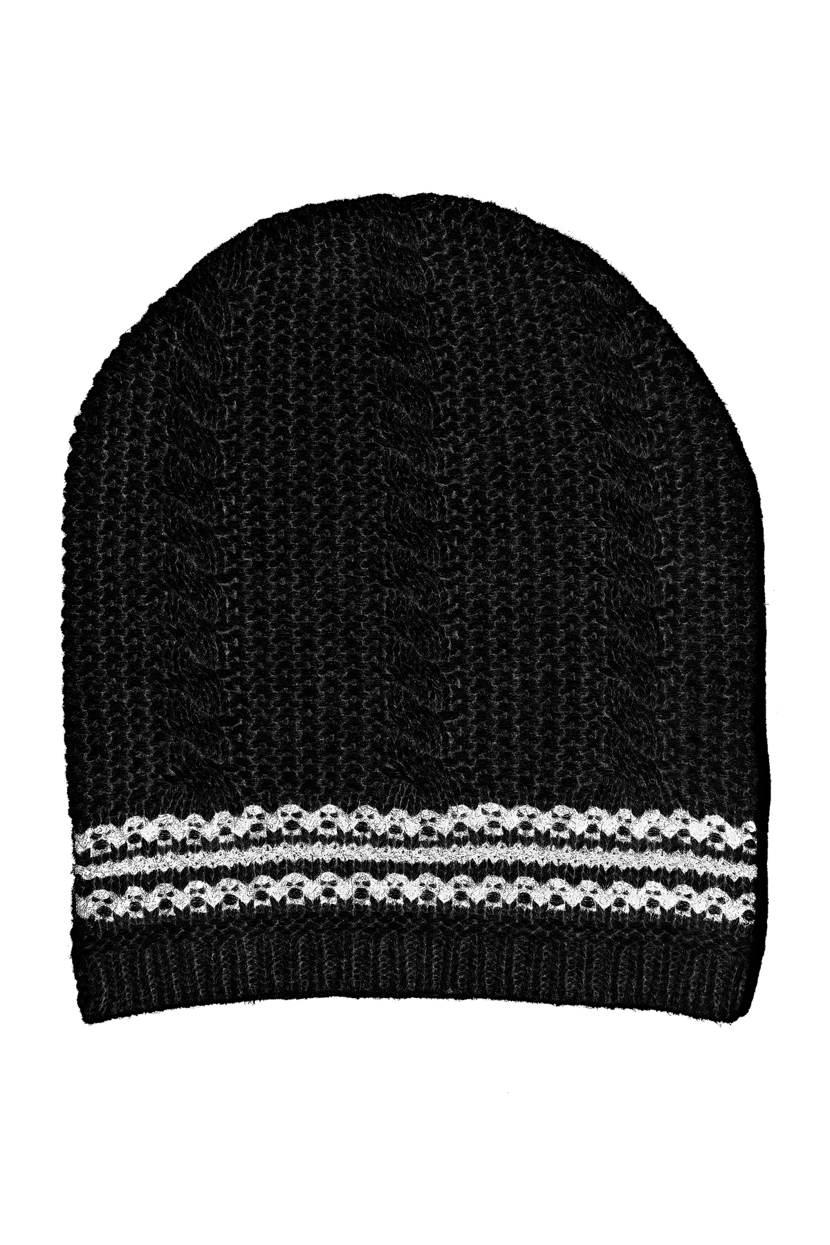 AMANDA WAKELEY BLACK CABLE KNIT HAT