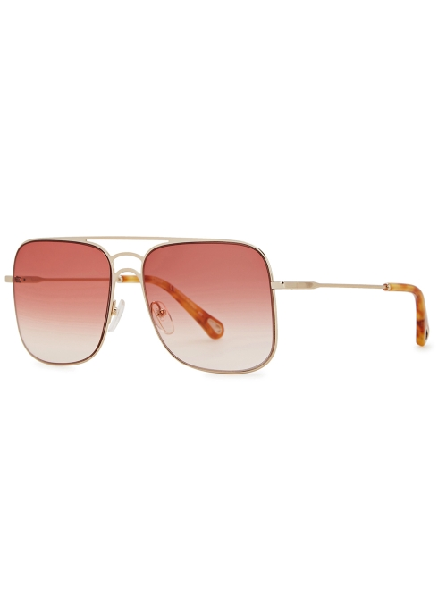 7d7b39d0a03 Chloé Ricky rose square-frame sunglasses - Harvey Nichols