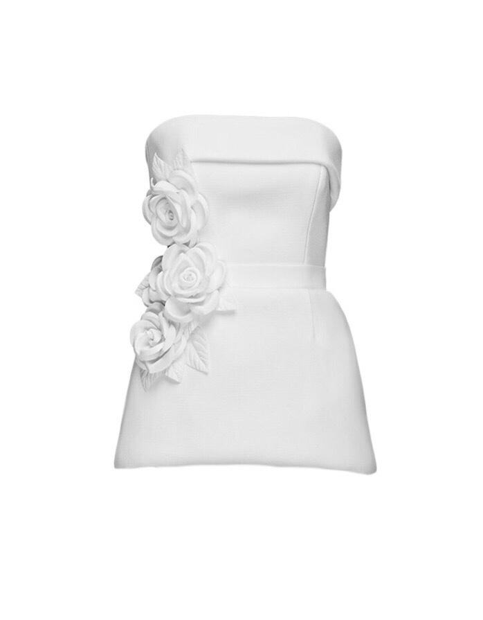 MIHANO MOMOSA Ivory Embellished Short Dress