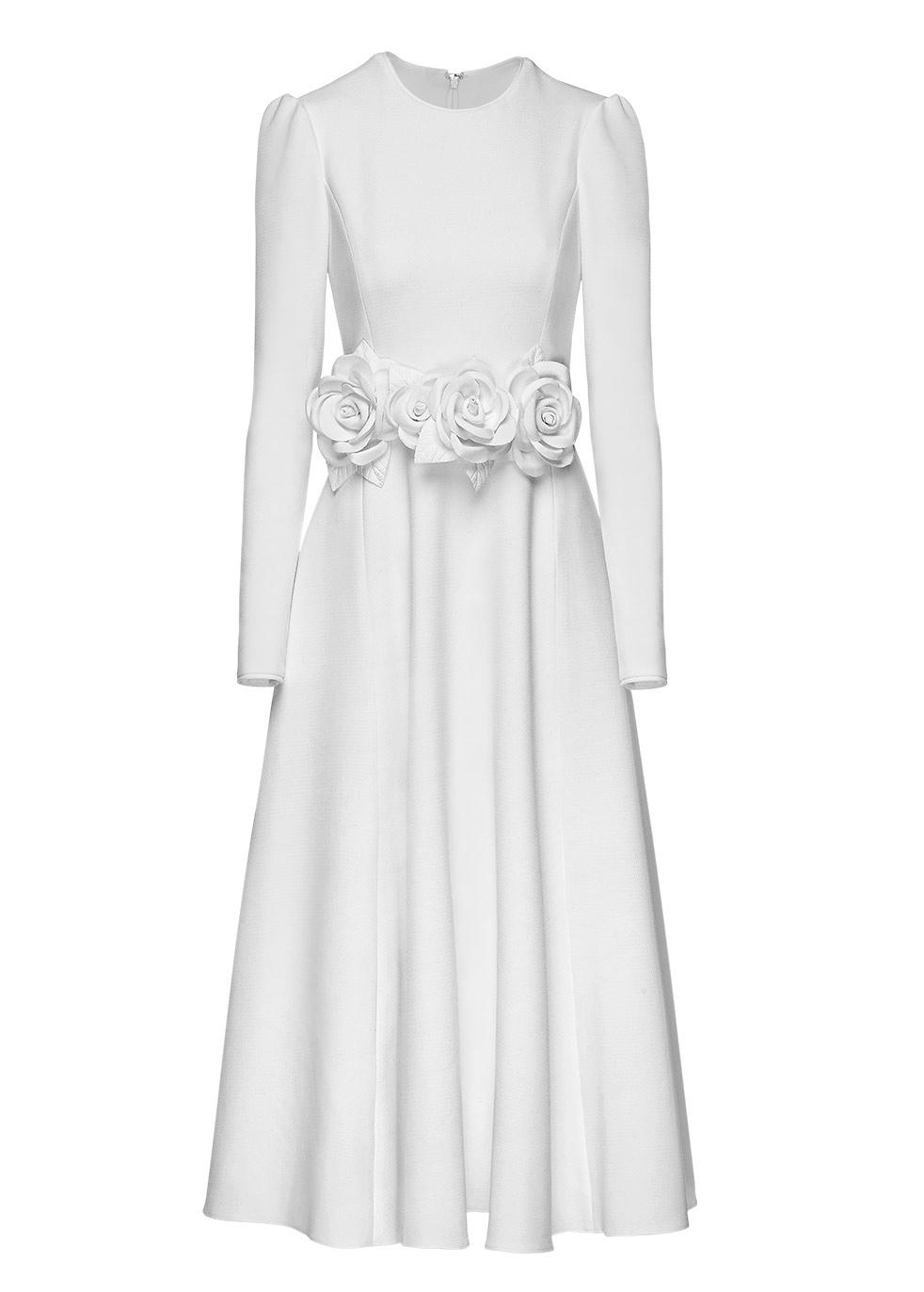 MIHANO MOMOSA Ivory Embellished Knee Length Dress