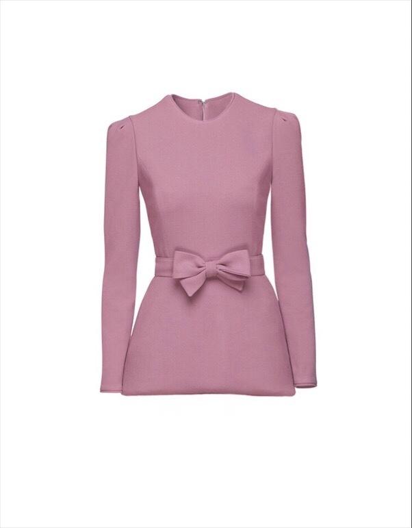MIHANO MOMOSA Soft Pink Long Sleeved Top With Bow Detail