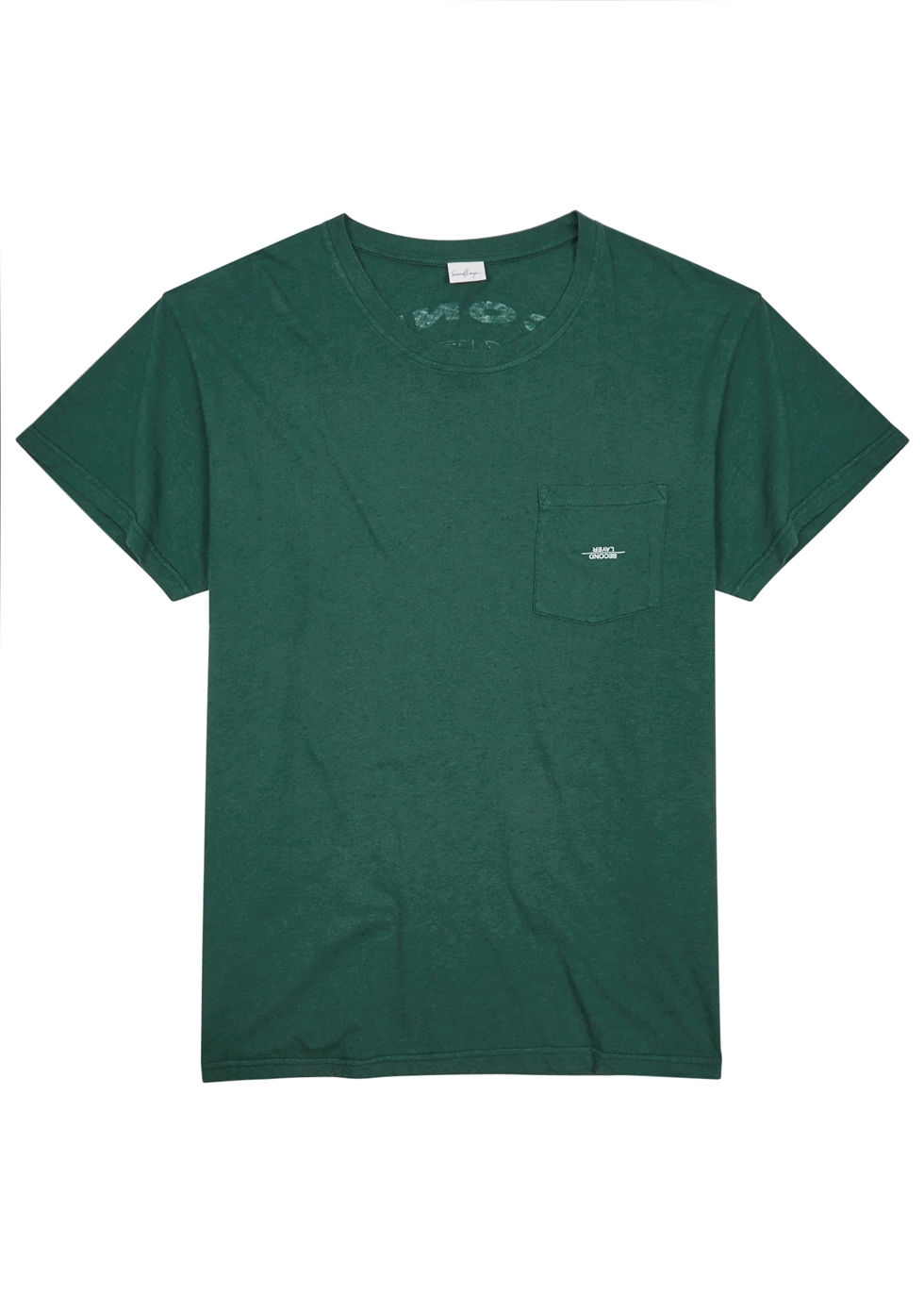SECOND/LAYER SPIRAL GREEN LOGO-PRINT T-SHIRT