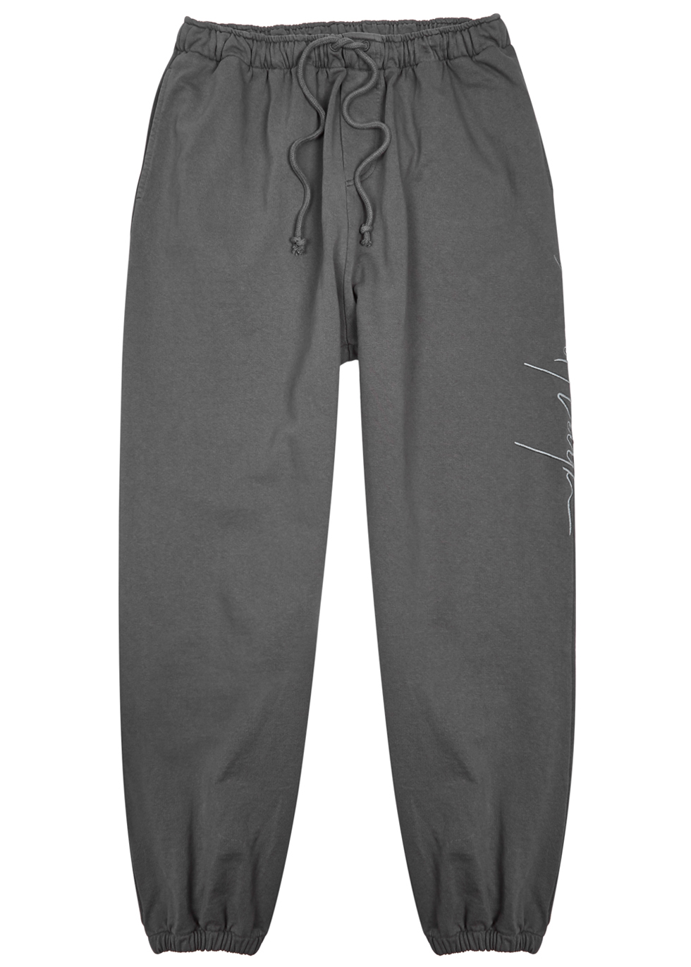 SECOND/LAYER SCRIPT GREY COTTON JOGGING TROUSERS